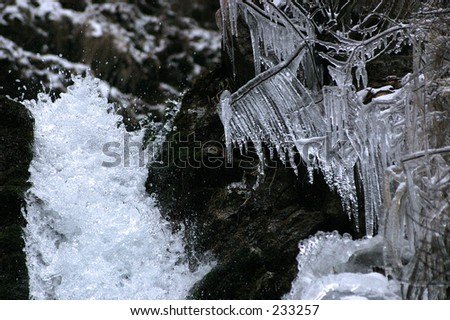Waterfall and ice - stock photo