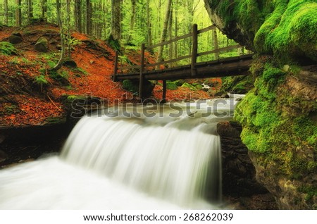 waterfall and wooden bridge in the forest in autumn - stock photo