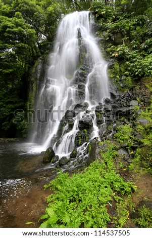 Waterfall at Azores (Achada/Sao Miguel Island).