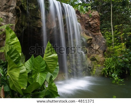 Waterfall At Botanic Garden - stock photo