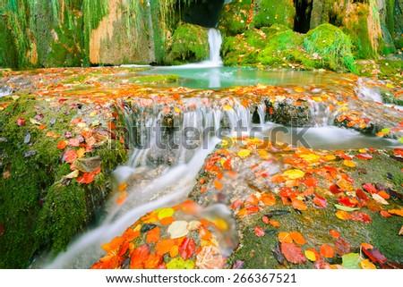 Waterfall at Entzia mountain range, Basque Country (Spain) - stock photo