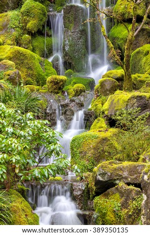 Waterfall at Japanese Garden with green moss on rocks in Spring Season - stock photo
