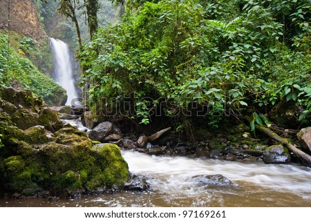 Waterfall at La Paz waterfall gardens, Central Valley, Costa RIca - stock photo