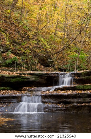 waterfall at Matthiessen state park IL - stock photo