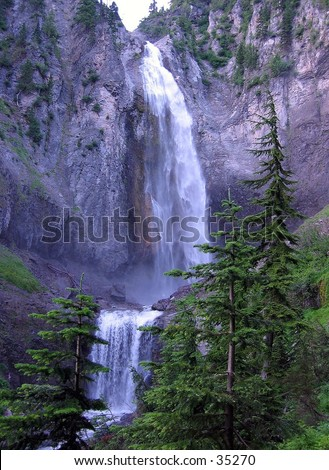 Waterfall at Mount Ranier National Park - stock photo