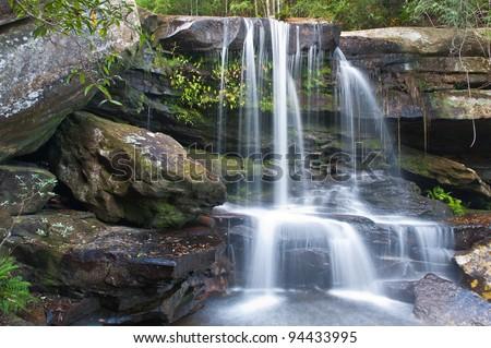waterfall at Phu Kra Dueng national park Loei province Thailand - stock photo