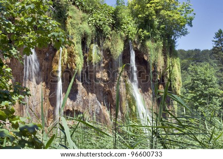 Waterfall at Plitvice Lakes National Park , UNESCO world heritage site.