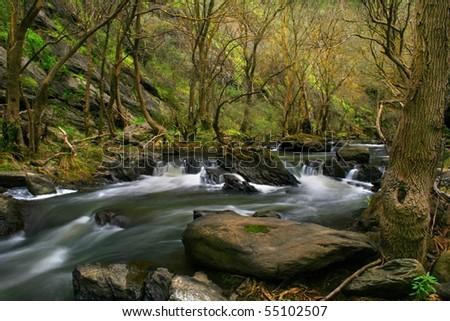 Waterfall at the creek - stock photo