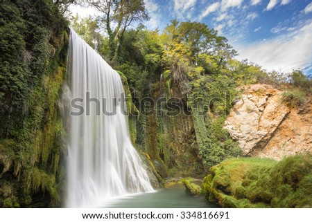 "Waterfall at the ""Monasterio de Piedra"" Natural Park , Zaragoza (Spain)"