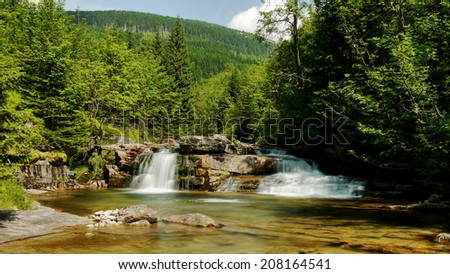 Waterfall at White Labe River in Giant Mountains - stock photo