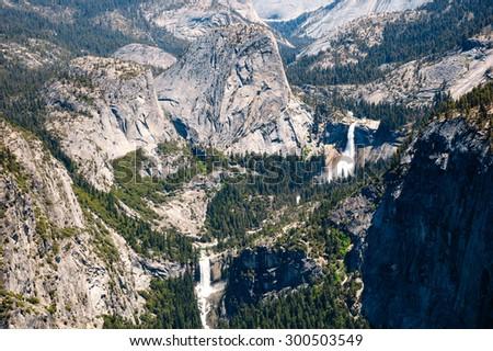 Waterfall at Yosemite Valley, Yosemite National Park - stock photo