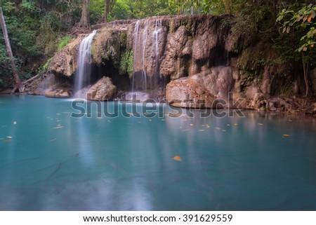 Waterfall beautiful (Erawan waterfall) in Thailand - stock photo