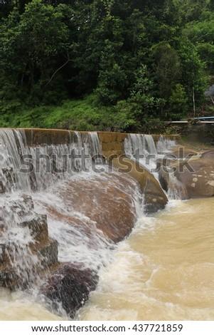 Waterfall. Beautiful waterfall landscape. Waterfall cascades in forest. Pernambuco, Brazil - stock photo