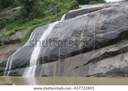 Waterfall. Beautiful waterfall landscape. Waterfall cascades in forest. Pernambuco, Brazil. (March 15, 2016) - stock photo