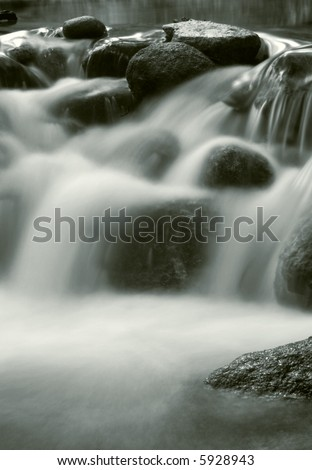 waterfall, black and white - stock photo