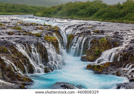 Waterfall Bruarfoss at the south of Iceland