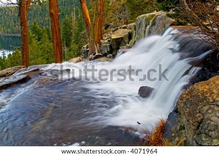 Waterfall by Emerald Bay, Lake Tahoe California - stock photo