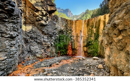 Waterfall Cascada de Colores at La Palma (Canary Islands) - stock photo