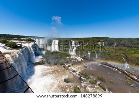 Waterfall cascades from the top of the shot with a fisheye, Iguassu Falls, Brazil - stock photo