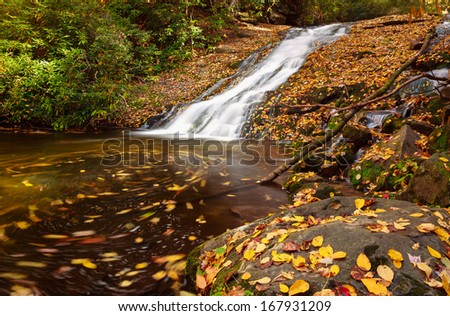 Waterfall covered with autumn leaves and swirling in he pool, smoky mountains national park - stock photo