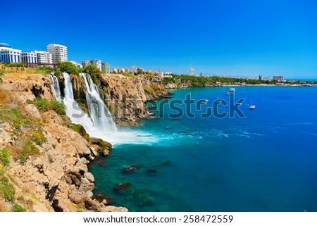 Waterfall Duden at Antalya, Turkey - nature travel background - stock photo