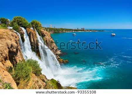 Waterfall Duden at Antalya, Turkey - nature travel background - stock photo