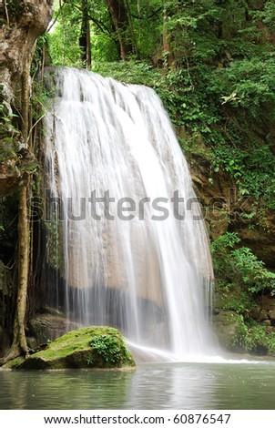 Waterfall Erawan, in Kanchanabury, Thailand - stock photo