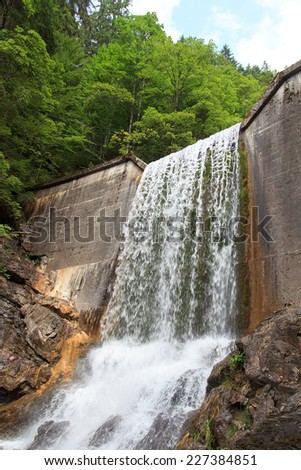 Waterfall Faltenbachtobel in Oberstdorf, Germany - stock photo