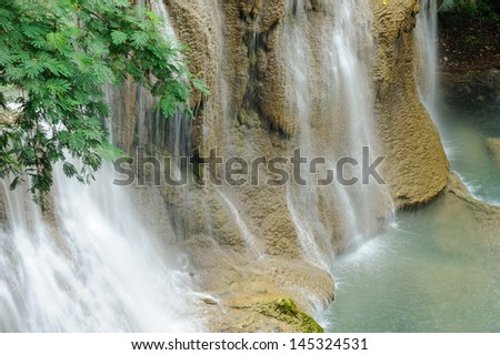 waterfall   forest  in thailand - stock photo