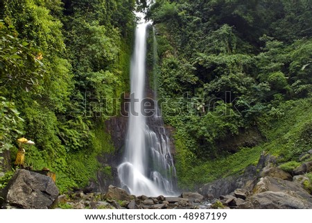 Waterfall Git-git the highest on island Bali - stock photo