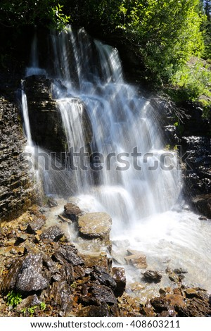 Waterfall Glacier National Park - stock photo