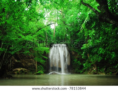 Waterfall Green forest bight stream - stock photo
