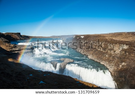 Waterfall Gullfoss Iceland - stock photo