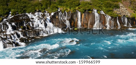 Waterfall Hraunfossar, Iceland - stock photo