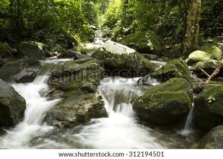 Waterfall in a forest ,Beautiful Waterfalls Krok I Dok, Saraburi, Thailand - stock photo