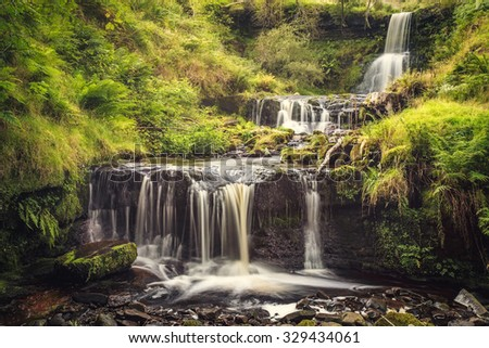 Waterfall in a national park Breckon Beacons in Wales. - stock photo