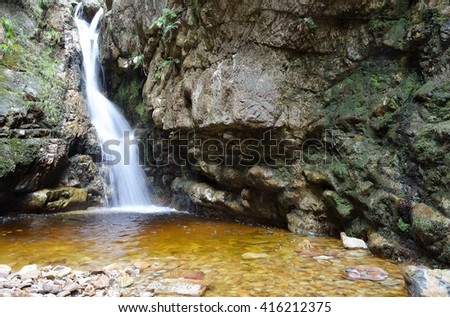 waterfall in a rocky gorge with trees