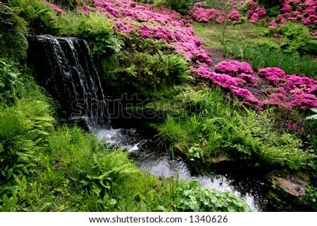 Waterfall in an English Garden - stock photo