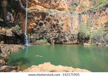 Waterfall in Australian Outback - stock photo