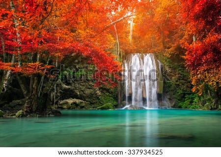Waterfall in autumn forest at Erawan waterfall National Park, Thai - stock photo