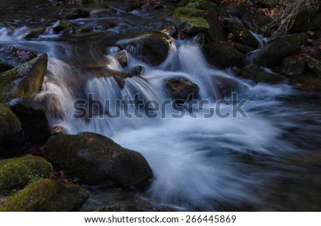 Waterfall in Beskydy mountains - stock photo