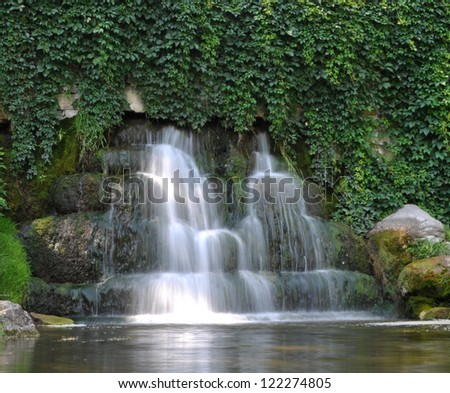 "Waterfall in Bila Tserkva ""Alexandria dendropark"" - stock photo"