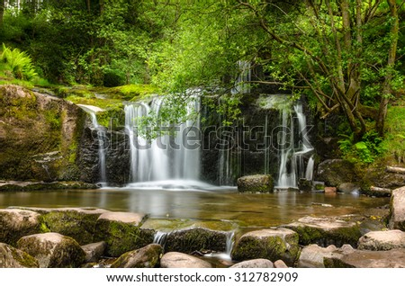 Waterfall in Brecon Beacons National Park, Wales, UK - stock photo