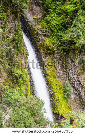 Waterfall in Cascades route, Banos, Ecuador