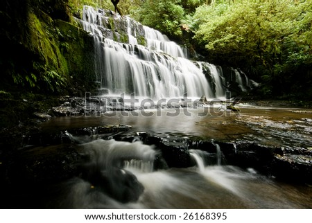 Waterfall in Catlins, New Zealand - stock photo