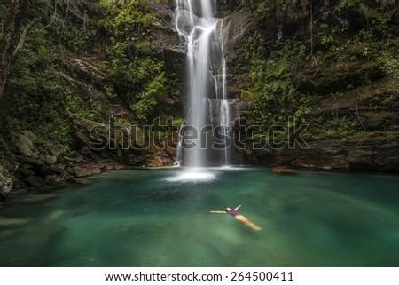 Waterfall in Chapada dos Veadeiros National Park -  Brazil - stock photo