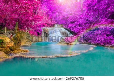 Waterfall in Deep forest at Erawan waterfall National Park, Kanjanaburi Thailand. - stock photo
