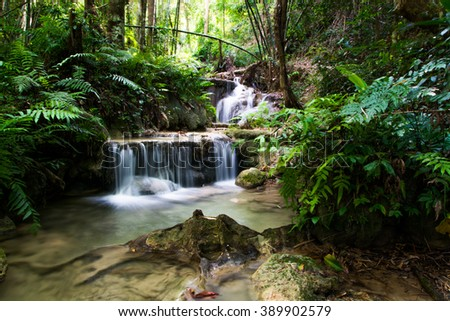 Waterfall in Deep forest at Pu Kang  waterfall National Park, Thailand