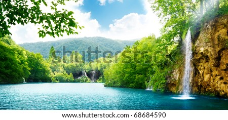 waterfall in deep forest of Croatia - stock photo