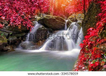 Waterfall in deep rain forest jungle (Krok E Dok Waterfall Saraburi) Thailand. - stock photo